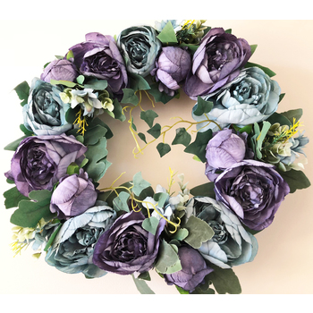 40cm High Quality Wreath -  Blue Tones European Peonies