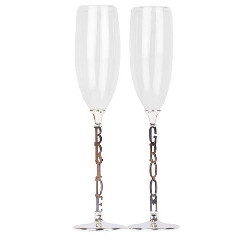 Champagne Toasting Glasses - Bride & Groom  (CLEARANCE)